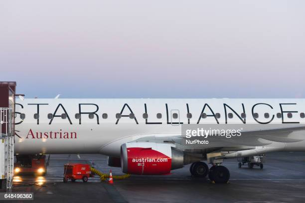 A view of an Austrian Airlines plane docked at Terminal 2 of Stockholm Arlanda Airport On Monday March 06 in Stockholm Sweden