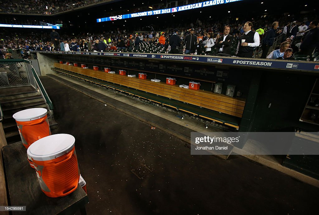 A view of an empty New York Yankees dugout during a weather delay prior to attempting to play game four of the American League Championship Series...