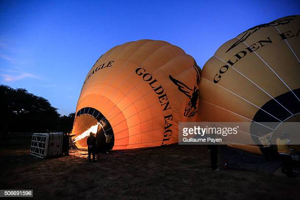 A view of an hot air ballons engine running before takeoff in early morning In the old days between the 11th and 13th centuries Bagan was the capital...