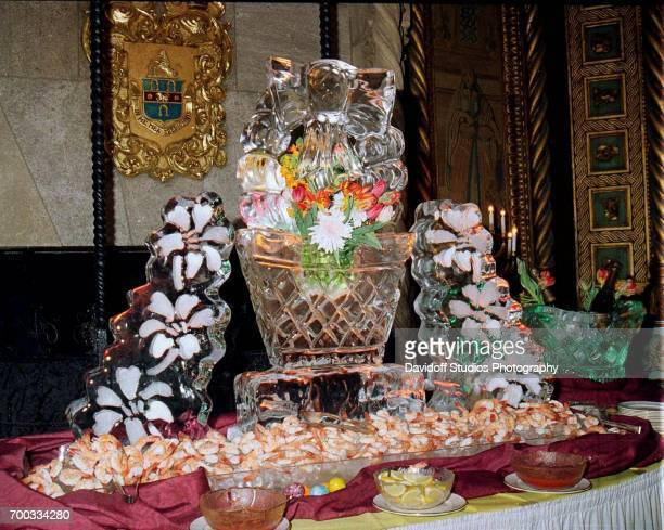 View of an ice carving on a shrimp buffet during the CapCure ProAm Invitational Tennis Tournament reception at the MaraLago club Palm Beach Florida...