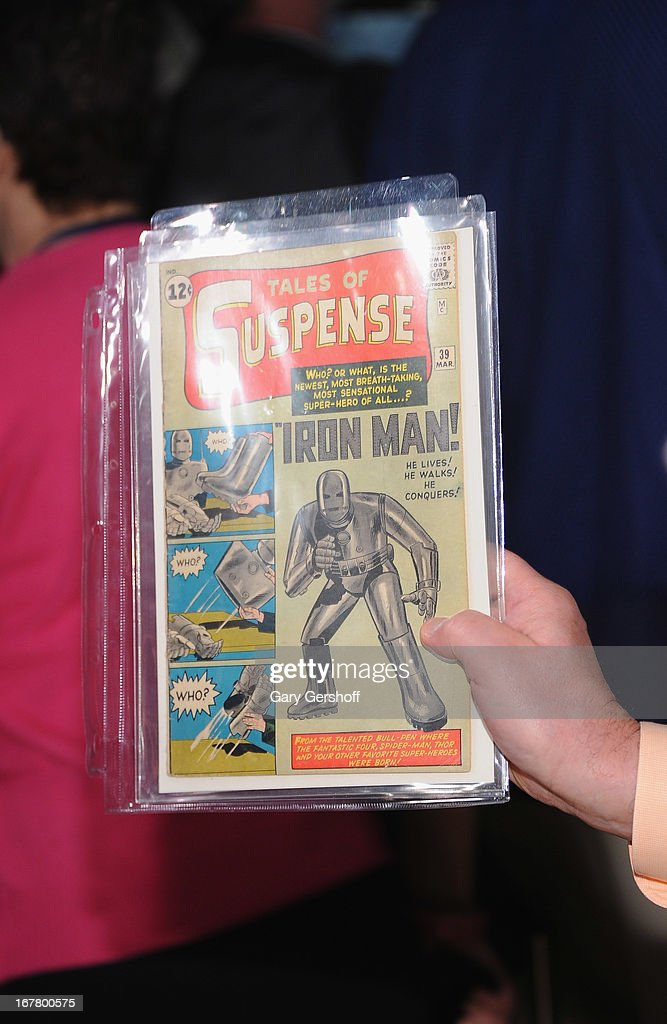 A view of an Iron Man first edition copy owned by Bob Pisani of CNBC at the New York Stock Exchange on April 30, 2013 in New York City.