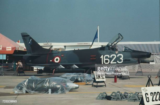 View of an Italian built Fiat G91Y ground attack twin engine jet fighter aircraft of the Italian Air Force on static display with assorted weaponry...