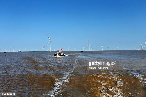A view of an offshore wind farm of China Longyuan Power on September 22 2016 in Rudong China The terminal PetroChina's first has received 1134...