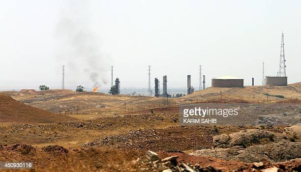A view of an oil refinery in the Iraqi city of Kirkuk on June 20 2014 Kurdish forces took control of Kirkuk and other disputed territory as Sunni...