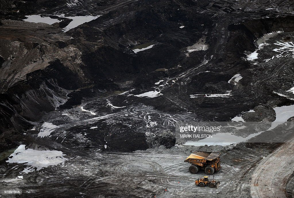 View of an oil sands mine near the town of Fort McMurray in Alberta on October 23 2009 Greenpeace are calling for an end to oil sands mining in the...