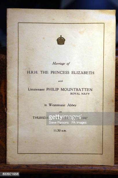 View of an original copy of the order of service from the wedding of Princess Elizabeth now Queen and Lieutenant Philip Mountbatten now the Duke of...