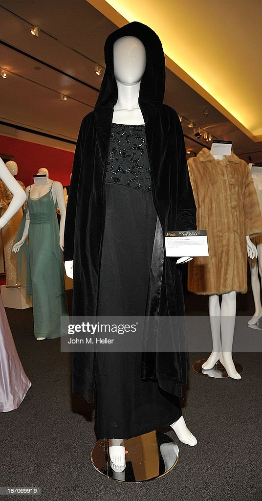 A view of an outfit worn by actress Elizabeth Taylor at the press preview for Icons & Idols Fashion and Hollywood Exhibit at Julien's Auctions Gallery on November 5, 2013 in Los Angeles, California.