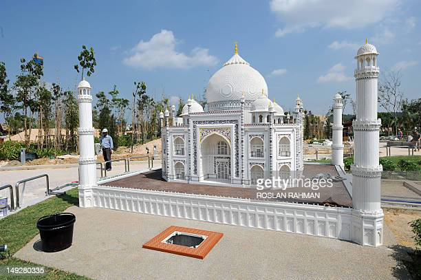 A view of an under construction miniature of the Taj Mahal made from lego bricks is displayed at Legoland Malaysia in the southern state of Johor...