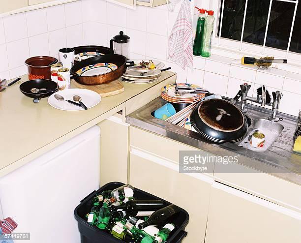 view of an untidy kitchen