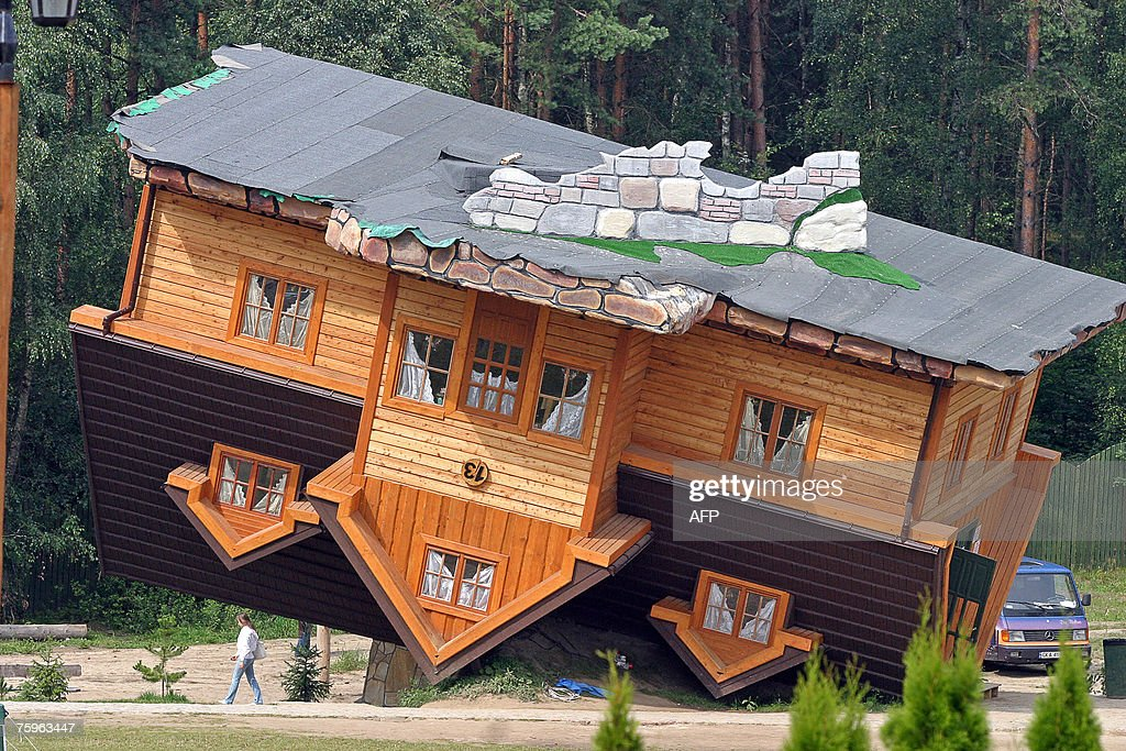 The Upside Down House a viewv of an upside-down house built at pictures | getty images