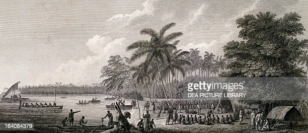 View of Anamooka archipelago of Tonga engraving from a drawing by John Webber from the report of the last voyage of James Cook conducted between...