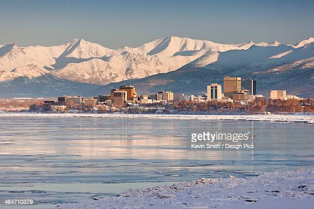 View Of Anchorage Skyline Chugach Mountains And Cook Inlet From Earthquake Park In Winter