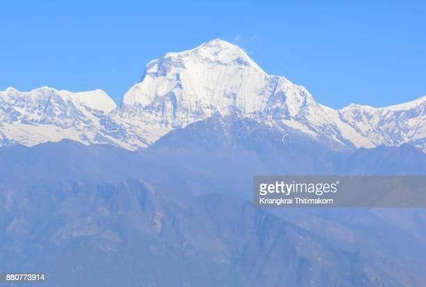 View of Annapurna Massif Mountain range in Nepal.