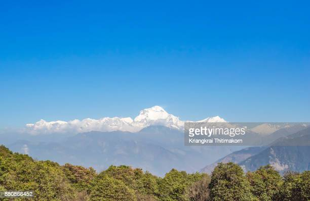 View of Annapurna Massif, Mountain range in Nepal