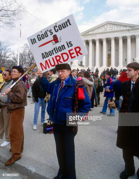 View of antiabortion demonstrators as they pose outside the United States Supreme Court Building during the annual March for Life Washington DC...
