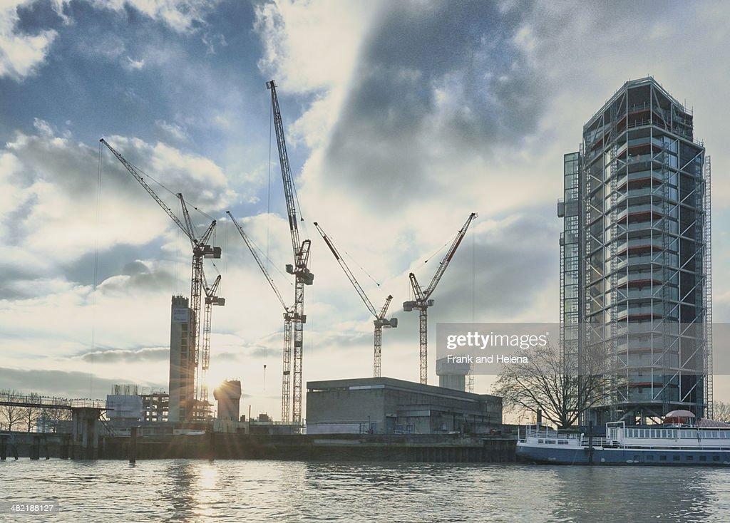 View of apartment block development on the Thames, London, UK