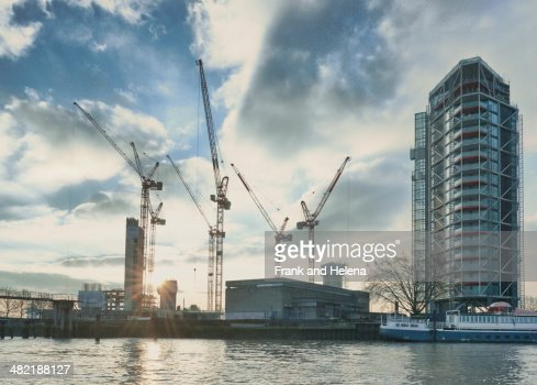 View of apartment block development on the Thames, London, UK