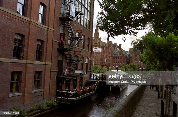 A view of apartments by the river next to Canal Street Manchester a famous gay district of the city