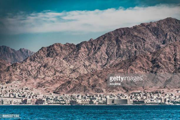 View of Aqaba, red sea and mountains