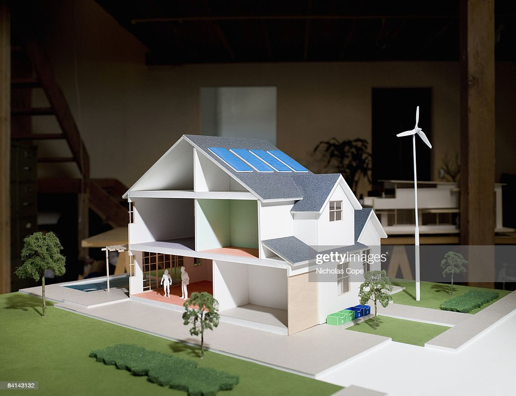 3/4 view of architectural model with solar panels : Stock Photo