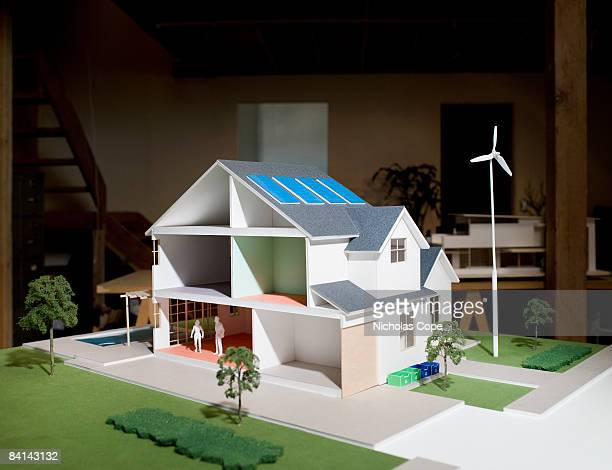 3/4 view of architectural model with solar panels