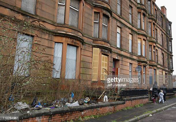 A view of Ardenlea Street where Margaret Jaconelli and her family face eviction from their home on March 17 2011 in Glasgow Scotland Mrs Jaconelli is...