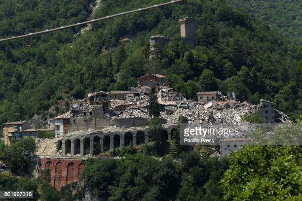 View of Arquata del Tronto a town affected by the earthquake of August 24 2016 Audience during Italian singersongwriter Niccolò Fabi concert...