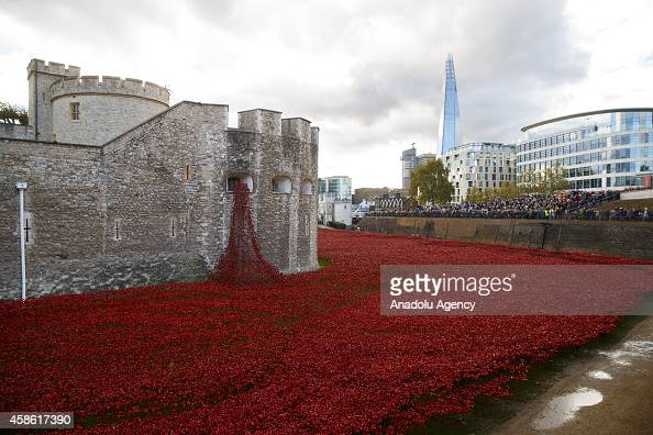 A view of artistic installation entitled 'Blood Swept Lands and Seas of Red' consisting of 888246 ceramic poppies planted to fill the moat of the...