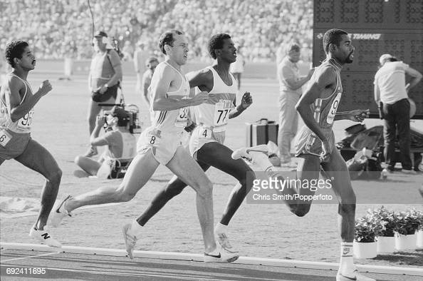 View of athletes competing in heat 3 of the quarterfinals of the Men's 800 metres event with from left William Wuycke of Venezuela Steve Ovett of...