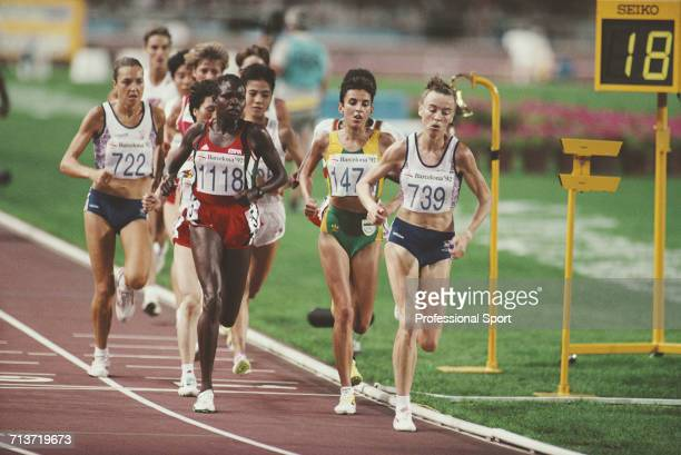 View of athletes competing in the final of the Women's 10000 metres event with from left Jill Hunter of Great Britain Hellen Kimaiyo of Kenya...