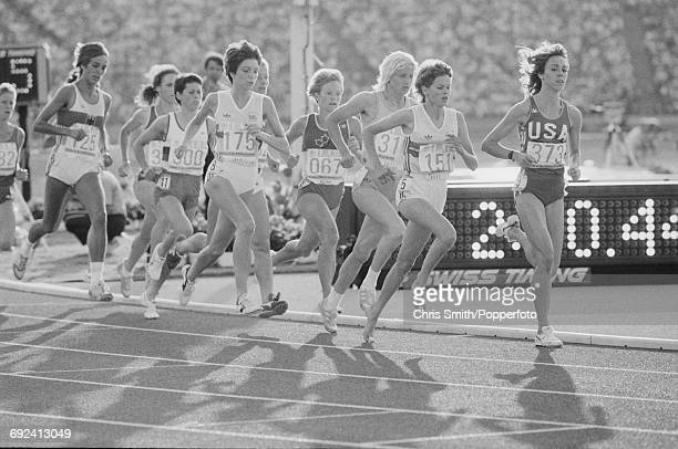 View of athletes competing in the final of the Women's 3000 metres event with from left Brigitte Kraus of West Germany Aurora Cunha of Portugal...