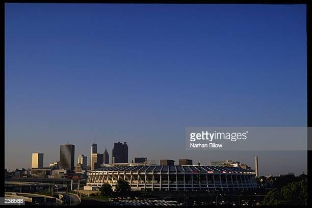 A view of Atlanta Fulton County Stadium home of the Atlanta Braves and the downtown skyline of Atlanta Georgia Atlanta will host the 1996 Summer...