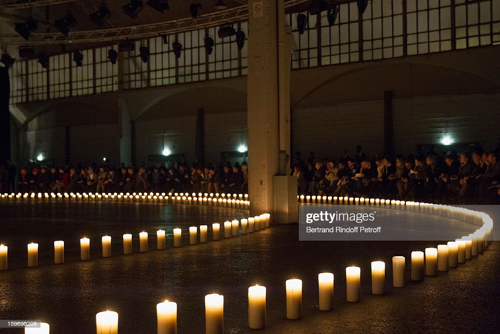 A view of atmosphere and the candlelit runway prior to the Givenchy Men Autumn / Winter 2013 show as part of Paris Fashion Week on January 18, 2013 in Paris, France.