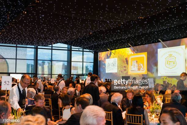 A view of atmosphere and wall projections during the dinner of Conseil des Grand Crus Classes of 1855 hosted by Chateau Mouton Rothschild on June 16...