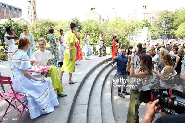 A view of atmosphere as guests attend the Lela Rose Presentation during New York Fashion Week at Washington Square Park on September 11 2017 in New...