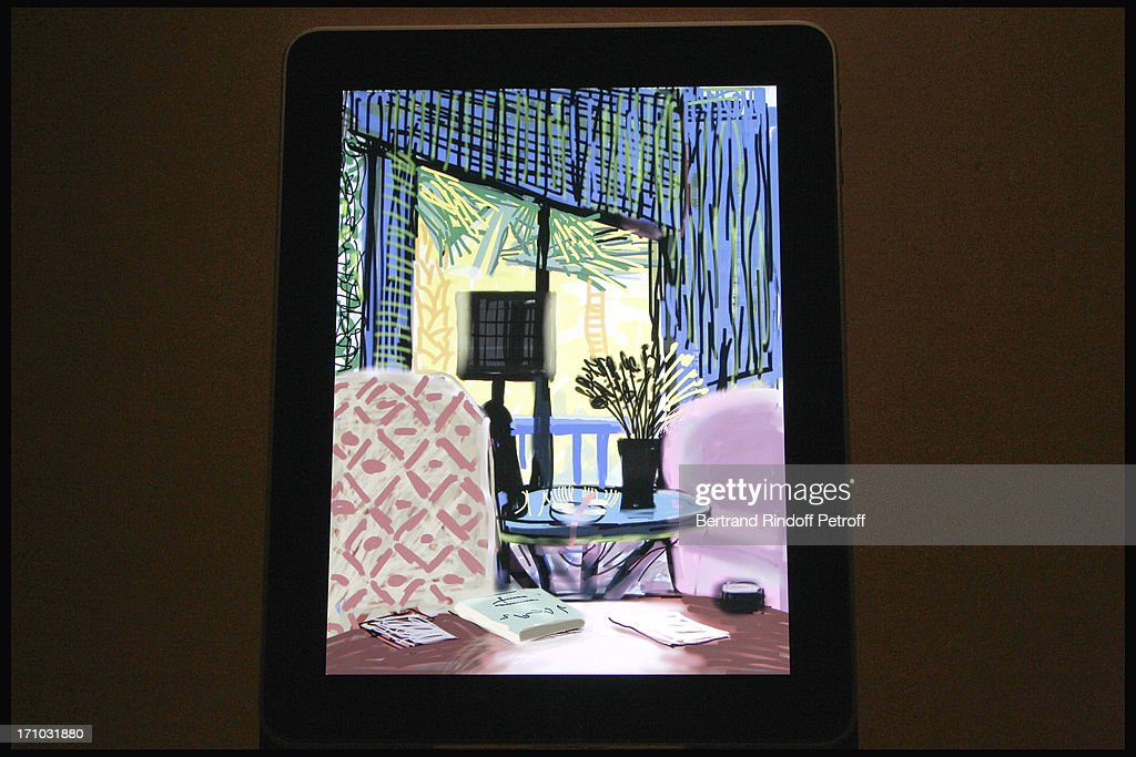 View of atmosphere at Exhibition Opening Of David Hockney 'Fleurs Fraiches' Drawings On Iphone And iPad At Foundation Pierre Berge And Yves...