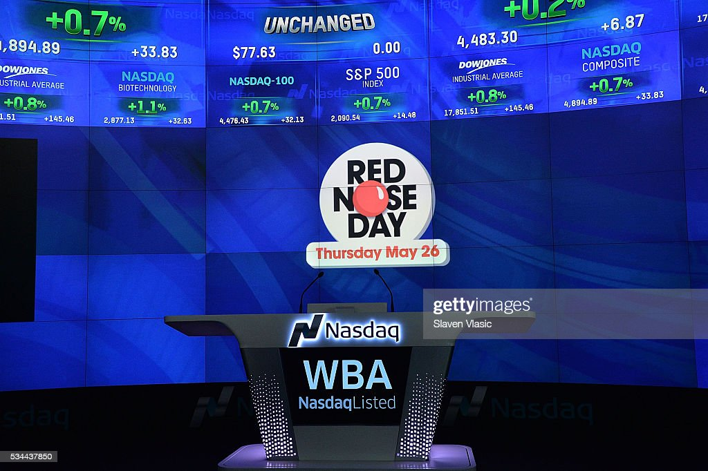 A view of atmosphere at The NASDAQ Opening Bell In Celebration Of Red Nose Day at NASDAQ MarketSite on May 26, 2016 in New York City.