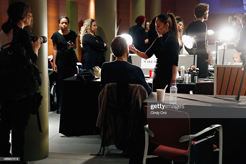 A view of atmosphere backstage at the Michael Bastian fall 2014 fashion show at Rubin Museum of Art on February 4, 2014 in New York City.