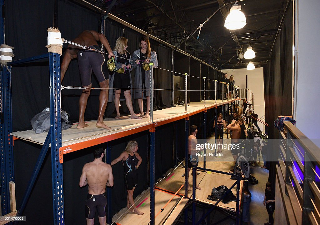 A view of atmosphere backstage during the New York launch of Team Speedo and Speedo's Fastskin LZR Racer X on December 15 2015 in New York City...