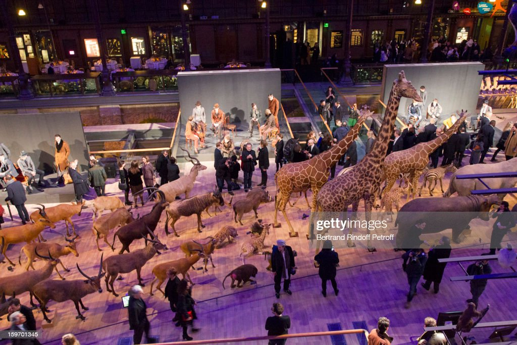A view of atmosphere during the Berluti Men Autumn / Winter 2013 presentation at the Great Gallery of Evolution in the National Museum of Natural History, as part of Paris Fashion Week on January 18, 2013 in Paris, France.