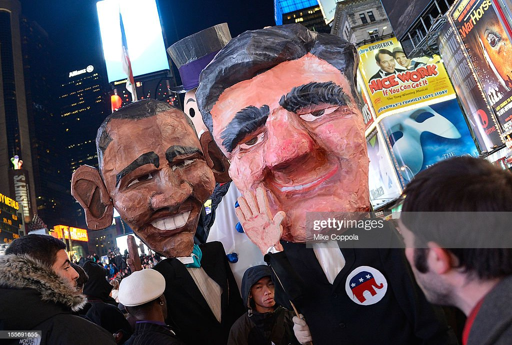 A view of atmosphere during the results of the 2012 Presidential election night in Times Square on November 6, 2012 in New York City.