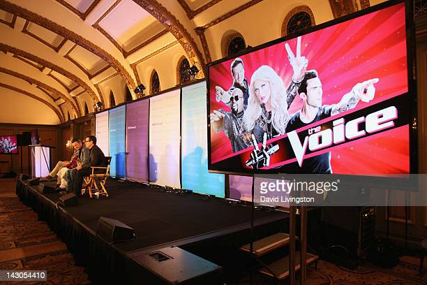 A view of atmosphere during 'The Voice' panel at the NBCUniversal summer press day held at The Langham Huntington Hotel and Spa on April 18 2012 in...