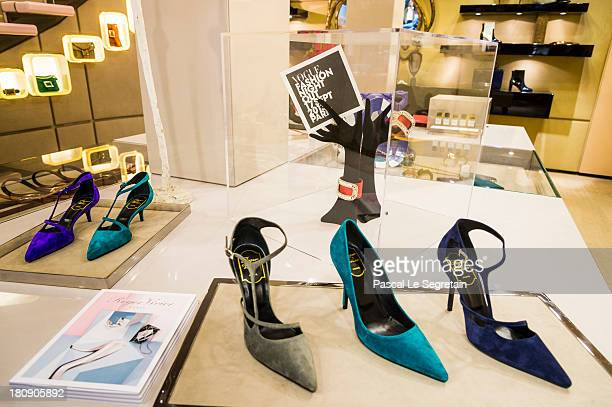 A view of atmosphere inside the Roger Vivier boutique during the Vogue Fashion Night Out on Faubourg SaintHonore on September 17 2013 in Paris France