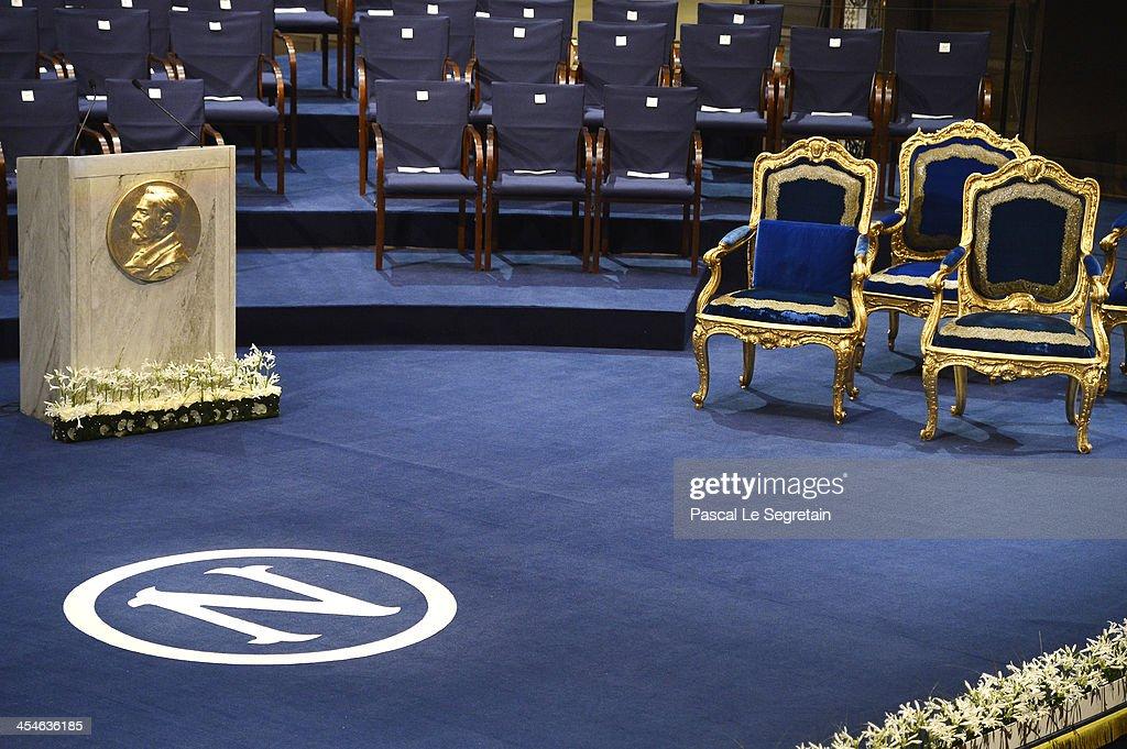 A view of atmosphere prior the Nobel Prize Awards Ceremony at Concert Hall on December 10 2013 in Stockholm Sweden