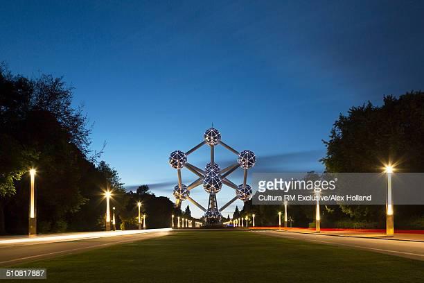 View of Atomium at night, Brussels, Belgium