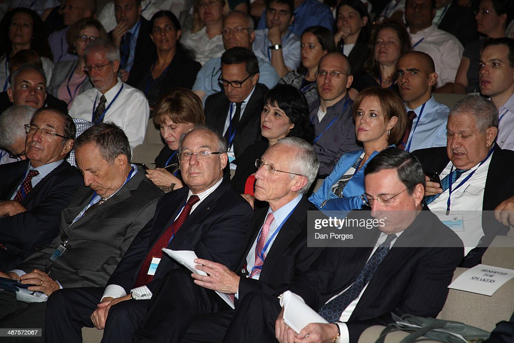 View of attendees at a conference held by the Bank of Israel at the Israel Museum, Jerusalem, Israel, June 18, 2013. Pictured are, front row from left, Israeli industrialist Dan Propper, former US Secretary of the Treasury Lawrence Henry Summers, former Governors of the Bank of Israel professors Jacob Frenkel and <a gi-track='captionPersonalityLinkClicked' href=/galleries/search?phrase=Stanley+Fischer&family=editorial&specificpeople=233518 ng-click='$event.stopPropagation()'>Stanley Fischer</a>, and President of the European Central Bank <a gi-track='captionPersonalityLinkClicked' href=/galleries/search?phrase=Mario+Draghi&family=editorial&specificpeople=571678 ng-click='$event.stopPropagation()'>Mario Draghi</a>; among those in the second row are, President and CEO of Bank Leumi Rakefet Russak-Aminoach (second right, in blue shirt) and Bank Leumi Chairman of the Board David Brodet (right).