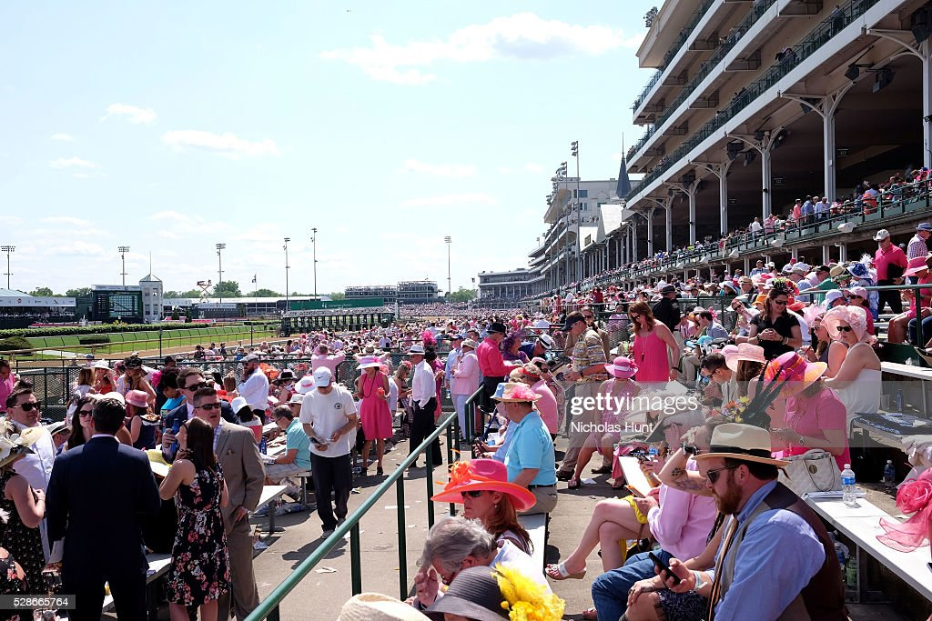 A view of attendees in the stands at the 2016 Kentucky Oaks at Churchill Downs on May 6, 2016 in Louisville, Kentucky.