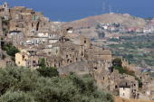 A view of Badolato on August 24 2009 in Badolato Reggio Calabria Italy Situated on a hill a few kilometres from the Jonic Coast the Medieval village...