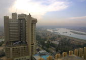 A view of Baghdad's Ishtar Hotel formerly known as the Sheraton hotel 29 November 2003 Two missiles struck the hotel which is used by Western news...