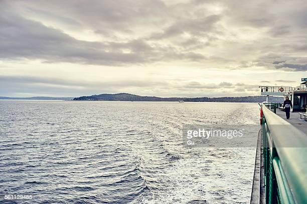 View of Bainbridge Island from ferry, Seattle, Washington State, USA